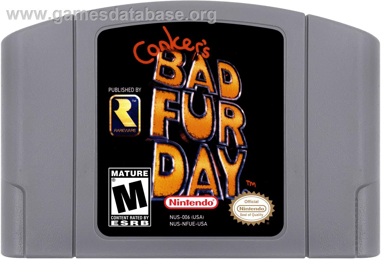 Cartridge artwork for Conker's Bad Fur Day on the Nintendo N64.