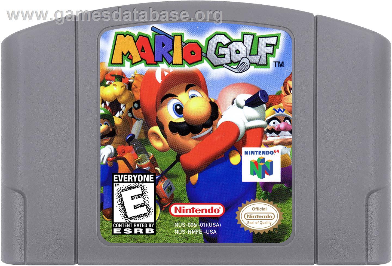 Cartridge artwork for Mario Golf on the Nintendo N64.