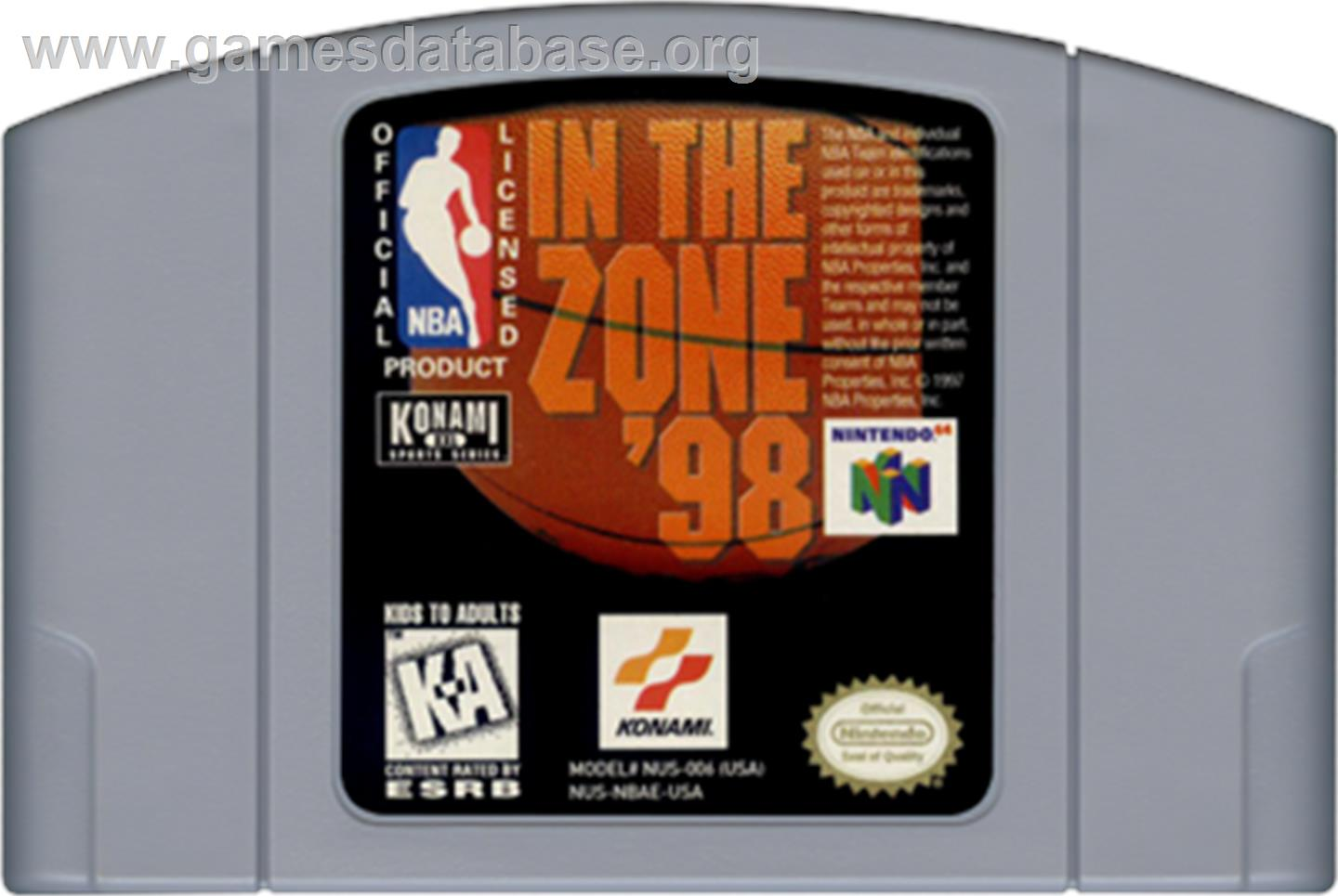 Cartridge artwork for NBA: In the Zone '98 on the Nintendo N64.
