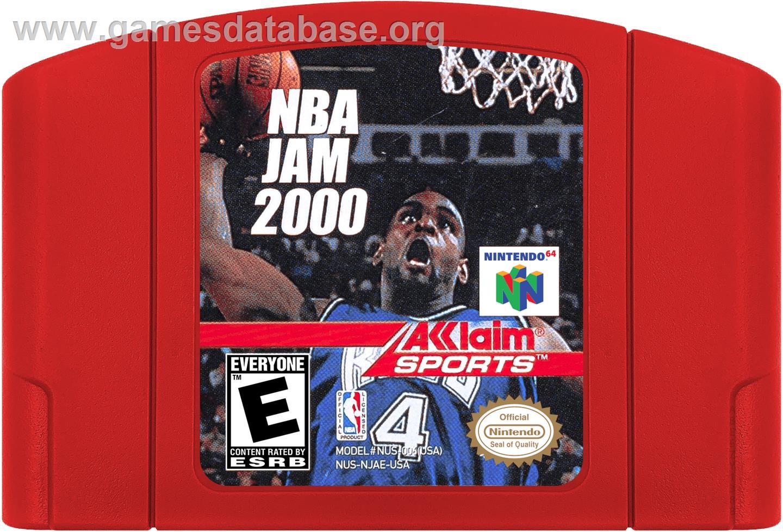 Cartridge artwork for NBA Jam 2000 on the Nintendo N64.