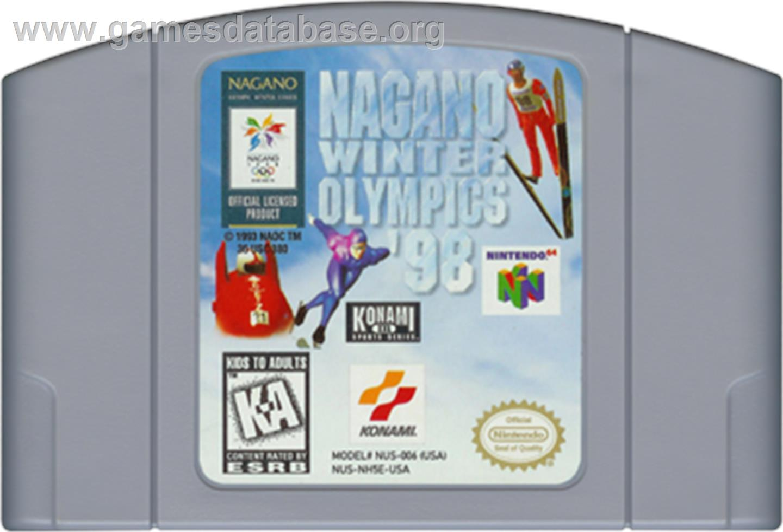 Cartridge artwork for Nagano Winter Olympics '98 on the Nintendo N64.