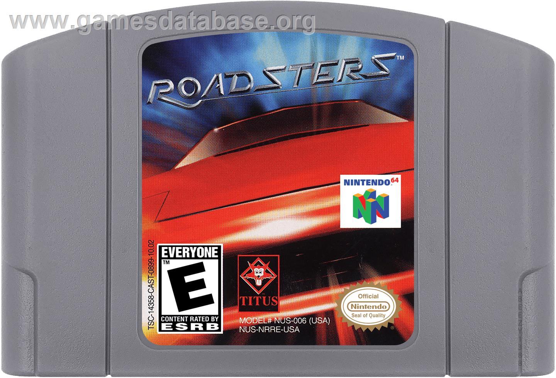 Cartridge artwork for Roadsters: Trophy on the Nintendo N64.