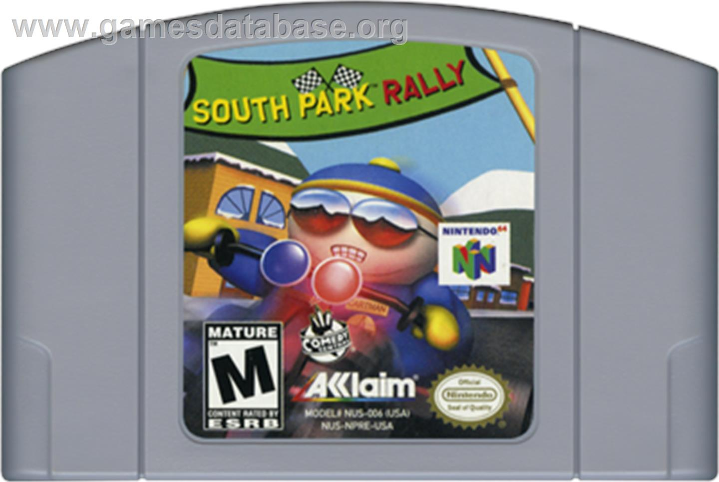 Cartridge artwork for South Park Rally on the Nintendo N64.