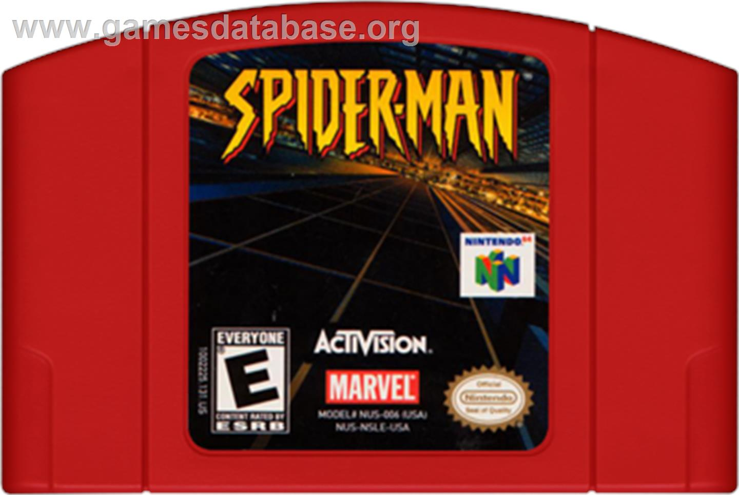 Cartridge artwork for Spider-Man on the Nintendo N64.