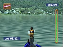 In game image of Bass Rush: ECOGEAR PowerWorm Championship on the Nintendo N64.