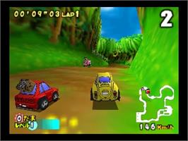 In game image of Choro Q 64 II: Hacha Mecha Grand Prix Race on the Nintendo N64.