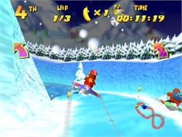In game image of Diddy Kong Racing on the Nintendo N64.