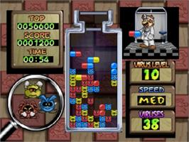 In game image of Dr. Mario 64 on the Nintendo N64.