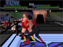 In game image of ECW Hardcore Revolution on the Nintendo N64.