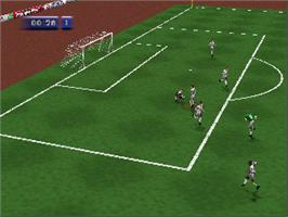 In game image of FIFA 64 on the Nintendo N64.