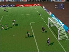In game image of FIFA 98: Road to World Cup on the Nintendo N64.