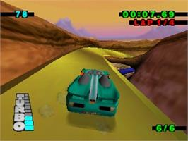 In game image of Hot Wheels: Turbo Racing on the Nintendo N64.