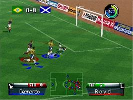 In game image of International Superstar Soccer '98 on the Nintendo N64.