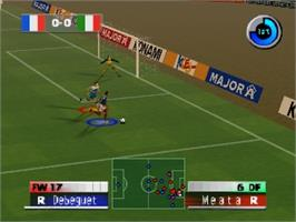 In game image of International Superstar Soccer 2000 on the Nintendo N64.