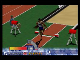 In game image of International Track & Field: Summer Games on the Nintendo N64.