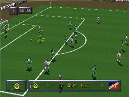 In game image of J-League Live 64 on the Nintendo N64.