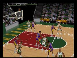 In game image of Kobe Bryant's NBA Courtside on the Nintendo N64.