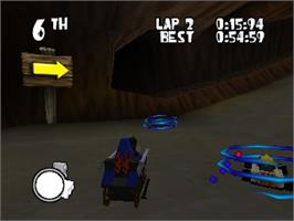 In game image of LEGO Racers on the Nintendo N64.