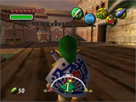 In game image of Legend of Zelda: Majora's Mask on the Nintendo N64.