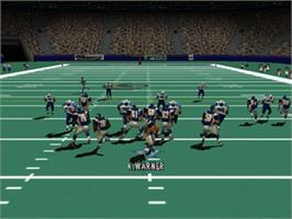 In game image of Madden NFL 2001 on the Nintendo N64.