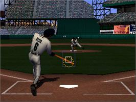 In game image of Major League Baseball Featuring Ken Griffey Jr on the Nintendo N64.