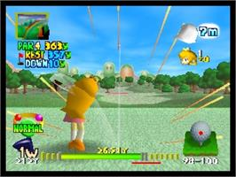 In game image of Mario Golf on the Nintendo N64.