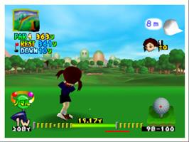 In game image of Mario Golf 64 on the Nintendo N64.