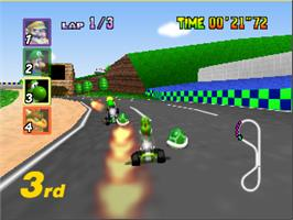 In game image of Mario Kart 64 on the Nintendo N64.