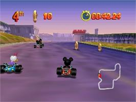 In game image of Mickey's Speedway USA on the Nintendo N64.