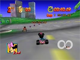 In game image of Mickey no Racing Challenge USA on the Nintendo N64.