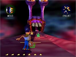 In game image of Milo's Astro Lanes on the Nintendo N64.