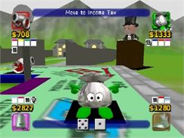 In game image of Monopoly on the Nintendo N64.