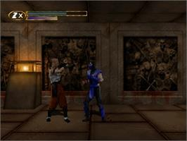 In game image of Mortal Kombat Mythologies: Sub-Zero on the Nintendo N64.