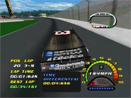 In game image of NASCAR 2000 on the Nintendo N64.