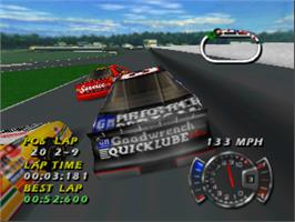 In game image of NASCAR 99 on the Nintendo N64.