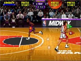 In game image of NBA Hang Time on the Nintendo N64.