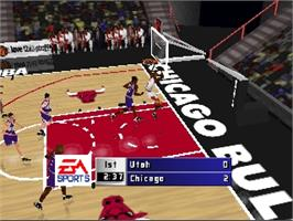 In game image of NBA Live '99 on the Nintendo N64.