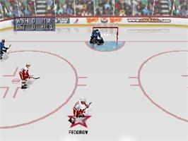 In game image of NHL 99 on the Nintendo N64.