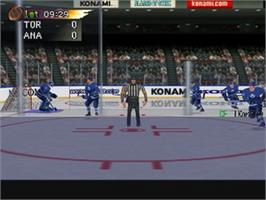 In game image of NHL Blades of Steel '99 on the Nintendo N64.