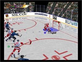 In game image of NHL Pro 99 on the Nintendo N64.