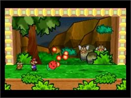 In game image of Paper Mario on the Nintendo N64.