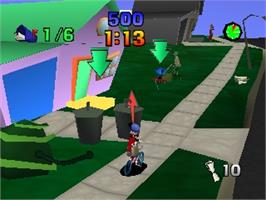 In game image of Paperboy on the Nintendo N64.