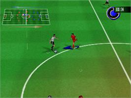 In game image of RTL World League Soccer 2000 on the Nintendo N64.