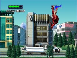 In game image of Rampage: Universal Tour on the Nintendo N64.