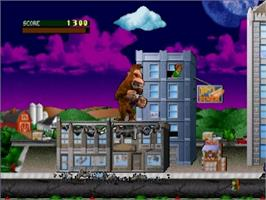 In game image of Rampage: World Tour on the Nintendo N64.
