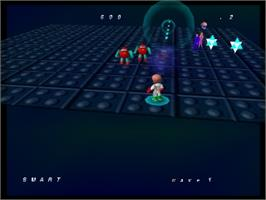 In game image of Robotron 64 on the Nintendo N64.