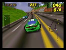 In game image of San Francisco Rush: Extreme Racing on the Nintendo N64.