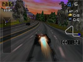 In game image of San Francisco Rush 2049 on the Nintendo N64.