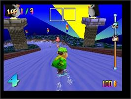 In game image of Snowboard Kids on the Nintendo N64.