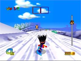 In game image of Snowboard Kids 2 on the Nintendo N64.